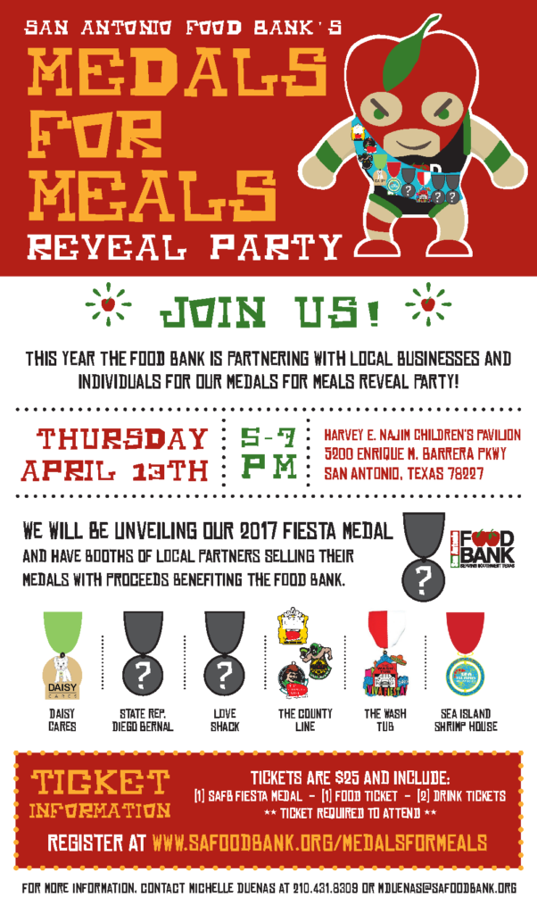 Get your tickets to the San Antonio Food Bank's Medals for Meals Reveal Party, where 100% of the proceeds go towards meals for those in need! Click above to find out more.