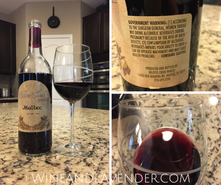 Here is a wine review of Helotes Creek Winery Malbec, made at a local winery in Helotes, Texas.