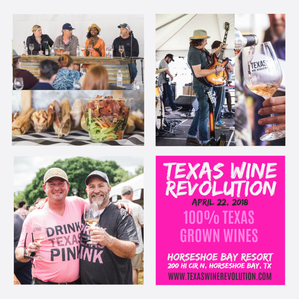 Find out more about 100%Texas Wines at the Texas Wine Revolution! This year's wine festival will be held at Horshoe Bay Resort in Horshoe Bay, TX. For more information click here.