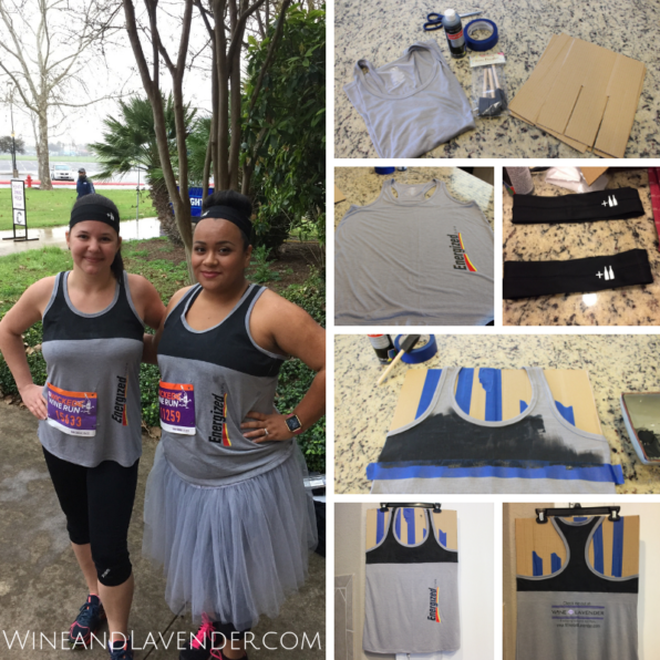 Check out how to make an Energizer Battery Costume for moms. Whether it's for Halloween, or you need a 5k race costume idea, it's a quick and easy costume to make!